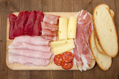 Cold cuts and bread Stock Photos