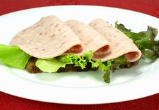 Cold cuts on brown bread Stock Image