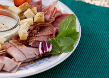 Cold Cuts and Cheese Snack Time Royalty Free Stock Images