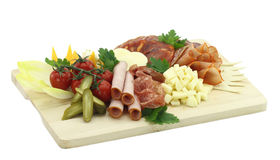 Cold cuts. Meat, cheese and vegetables Stock Photography