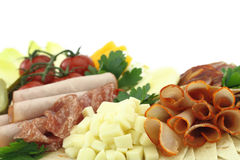 Cold cuts. Meat, cheese and vegetables Royalty Free Stock Photography