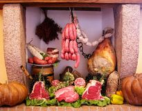 Cold cuts and meat composition Royalty Free Stock Images