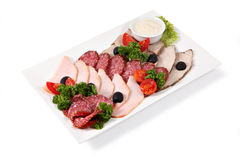 Cold Cuts On Plate, Isolated Over White Background. Stock Image