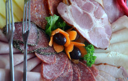 Cold cuts plate Stock Image
