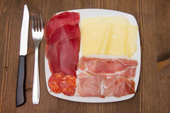 Cold cuts on plate Royalty Free Stock Photography