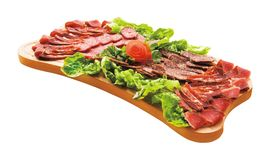 Cold cuts on plateau. Gourmet food. Royalty Free Stock Photo