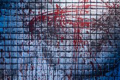 Cold and dark background from the scene of the murder. Dirty marble tile blurred by splashes of red blood stock images