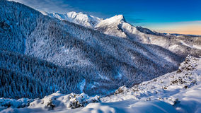 Cold dawn in Tatra Mountains. Europe Royalty Free Stock Image