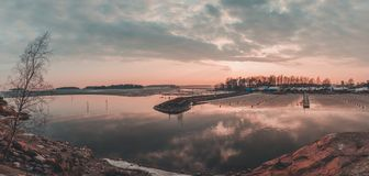 Finland Helsinki, Marina at Koivusaari with all the boats still on land waiting for the ice and snow to melt royalty free stock photo