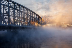 Cold day. Vapor rises from river Oulujoki on an extremely cold January day Stock Photos