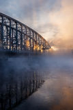 Cold day. Vapor rises from river Oulujoki on an extremely cold January day Stock Photography