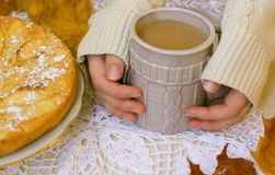 on a cold day warm hot coffee Royalty Free Stock Images