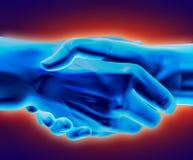 Cold Deal. 3D rendered handshake stock illustration