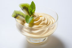 Cold dessert decorated with slices of kiwi Royalty Free Stock Images