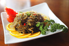 Cold dish. Chinese cold dish with seaweed and chili pepper Stock Photography