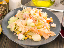 Cold dish summer salad on wooden. Board Royalty Free Stock Photo