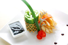 Cold dishes cooked by cuke, carrot. Cold dish made by colorful vegetable royalty free stock photos