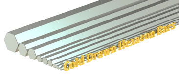 Cold drawn hexagon bars, rolled metal. 3D rendering Royalty Free Stock Photo