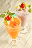 Cold drink. Carrot juice and yogurt Stock Images
