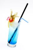 Cold drink. Cold, blue drink in a tall glass Royalty Free Stock Photos