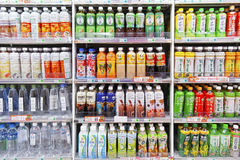Cold drink bottles in cold storage Royalty Free Stock Photography