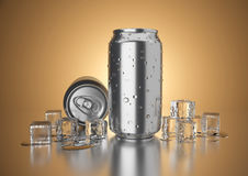 Cold Drink Can. Aluminum metal beverage cold drink can. Ready for your design, packing product, 3D render image Royalty Free Stock Photos