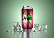 Cold Drink Can. Aluminum metal beverage cold drink can. Ready for your design, packing product, 3D render image Stock Photos