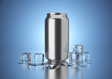 Cold Drink Can. Aluminum metal beverage cold drink can. Ready for your design, packing product, 3D render image Royalty Free Stock Photography