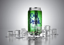 Cold Drink Can. Aluminum metal beverage cold drink can. Ready for your design, packing product, 3D render image Stock Image