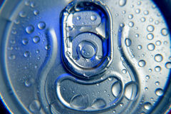 Cold drink in can with water drops Stock Photos