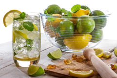 Cold drink with citrus fruit Royalty Free Stock Photography