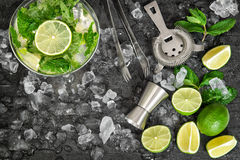 Cold drink glass. Mojito, caipirinha, lemonade tonic water Royalty Free Stock Photos