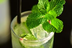 Mojito glass on dark background Royalty Free Stock Images