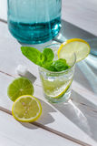 Cold drink with ice, citrus fruits and mint leaf Stock Photo