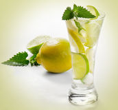 Cold drink with lemon Royalty Free Stock Photos