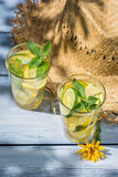 Cold drink with lemon and mint leaf Stock Image