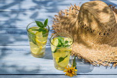 Cold drink with lemon and mint leaf Stock Images