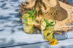 Cold drink with lemon and mint leaf Royalty Free Stock Images