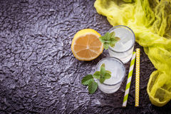Cold drink with lemon and mint Royalty Free Stock Photos