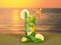 Cold drink with a lemon slice and spearmint Stock Images