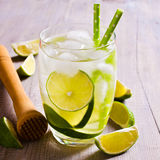 Cold drink with lime Stock Photos