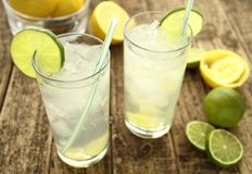 Cold drink with lime Stock Image