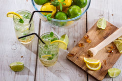 Cold drink made of citrus fruit with sugar Stock Image