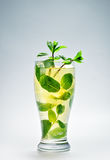 Cold drink with mint and ice. In a glass Royalty Free Stock Photo
