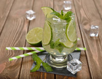 Cold drink with mint and lime Stock Photos