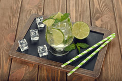 Cold drink with mint and lime Royalty Free Stock Images