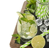 Cold drink with mint and lime Stock Images
