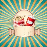 Cold Drink and Pop Corn. Illustration of cold drink and pop corn on sunburst vintage background Royalty Free Stock Photo