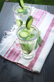Cold drinking water with cucumber and dill in a glass. Carbonated bottled water with cucumber, dill and toast on a wooden table Royalty Free Stock Photo