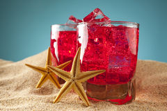 Cold drinks on the beach Royalty Free Stock Photo